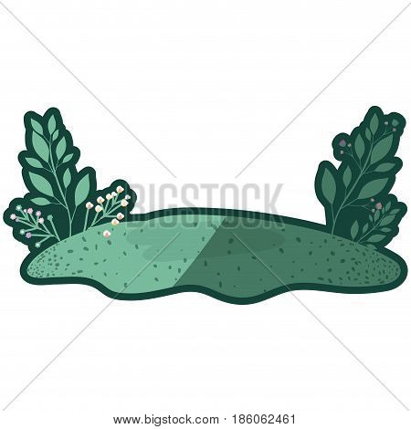 colorful thick contour of floral landscape and grassy field vector illustration