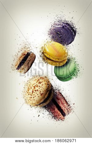 Assorted Multi Flavoured Macaroons Floating