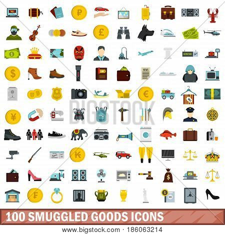 100 smuggled goods icons set in flat style for any design vector illustration