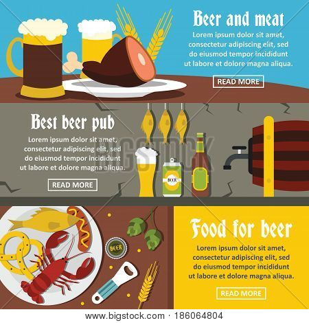Beer pub food banner horizontal concept set. Flat illustration of 3 beer pub food vector banner horizontal concepts for web