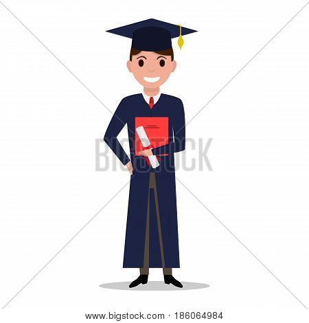 Vector illustration cartoon student boy graduate. Isolated white background. Male character with square academic cap and diploma in hands. Man received a degree, certificate, graduation. Flat style.