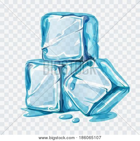 Ice cubes vector illustration on white background