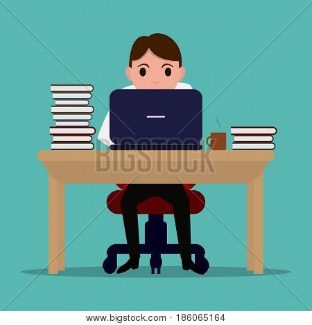 Vector illustration of a cartoon diligent office worker at the table. Businessman learns to work on a laptop. Flat style. Man is working at a computer at a desk with a large stack of books.