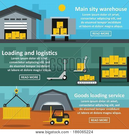 Warehouse banner horizontal concept set. Flat illustration of 3 warehouse vector banner horizontal concepts for web