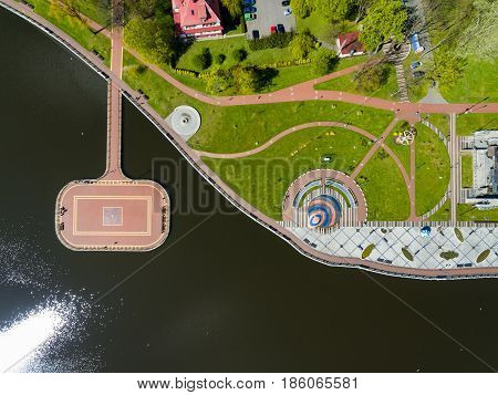 Aerial view of the amusement park on the embankment of Upper Lake in Kaliningrad Russia