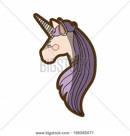 white background with faceless side view of unicorn and long striped mane and thick contour vector illustration