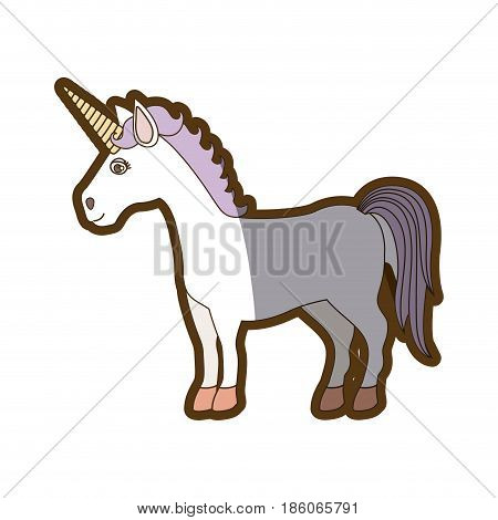 white background with caricature unicorn standing and purple mane and thick contour vector illustration