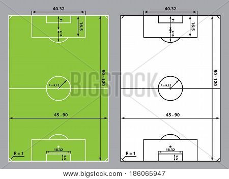 soccer field or football field sizes, stadium scheme top view