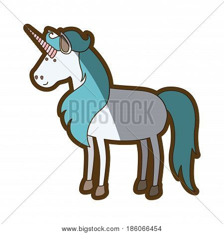 white background with cartoon unicorn standing with long blue mane and thick contour vector illustration