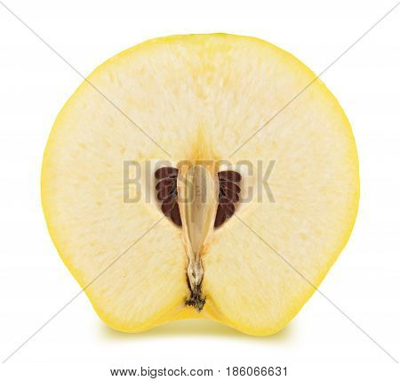 Half of ripe apple-quince isolated on a white