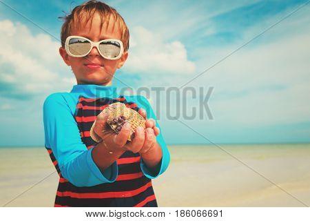 proud little boy found seashells on beach, beach vacation