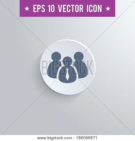 Stylish business people icon. Blue colored symbol on a white circle with shadow on a gray background. EPS10 with transparency.