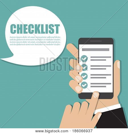 Hand holding smartphone with checklist. Vector illustration