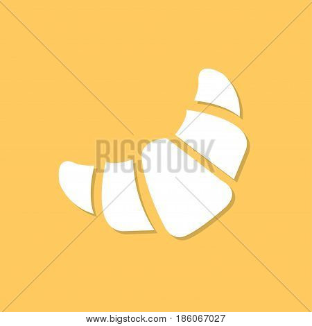 Croissant icon with shadow in a flat design on a orange background