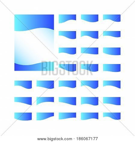 Decorative Design Elements / Set of blue decorative ribbons for design isolated on white background