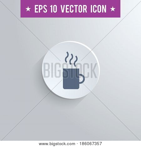 Stylish coffee mug icon. Blue colored symbol on a white circle with shadow on a gray background. EPS10 with transparency.