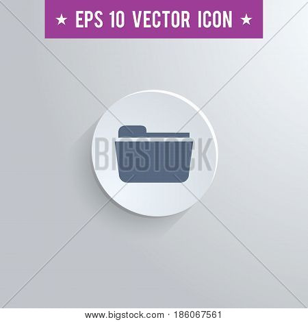 Stylish file folder icon. Blue colored symbol on a white circle with shadow on a gray background. EPS10 with transparency.