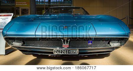 STUTTGART GERMANY - MARCH 02 2017: Grand Tourer car Maserati Ghibli Spyder (AM115) 1970. Europe's greatest classic car exhibition