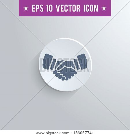 Stylish handshake icon. Blue colored symbol on a white circle with shadow on a gray background. EPS10 with transparency.