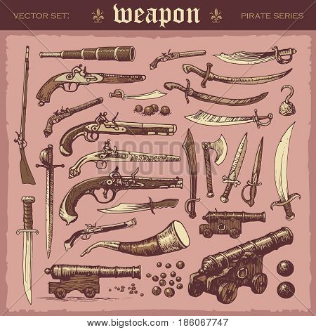 Illustrated vector set of old pirate weapons