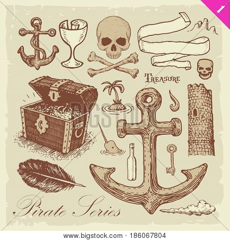 Pirate Sketches Layered Vector Set vintage Illustration