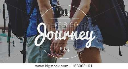 Couple Travel Adventure Explore Journey Together Word Graphic