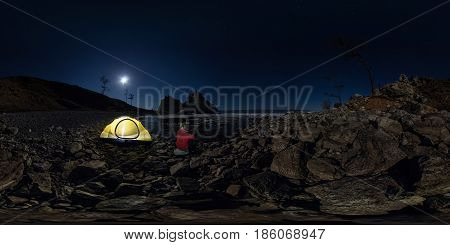 Spherical Panorama 360 180 Of Man At Tent On Stone Beach On Shore Of Lake Baikal At Night