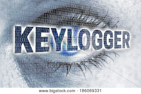 Keylogger eye with matrix looks at viewer concept.