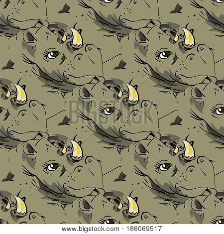 Seamless African Rhinoceros Background. Animal Rhino Pattern