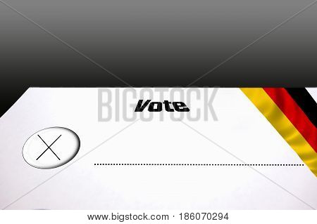 Ballot papers Choice sheet for government elections or Bundestag elections. Choice stamp with round button. Right side the German flag.