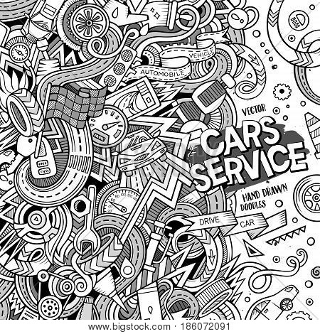 Cartoon cute doodles hand drawn Vehicle frame design. Line art detailed, with lots of objects background. Funny vector illustration. Vintage border with auto service items