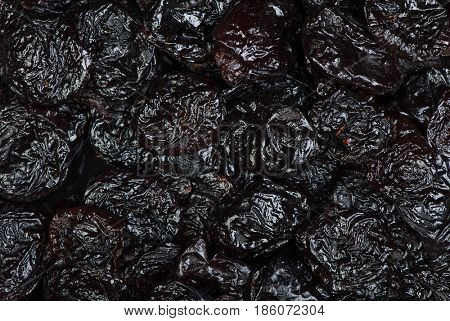 Top view of prunes as background texture