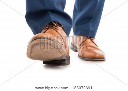 Male Shoes And Trousers In Walking Position