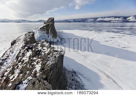 Mare's Head Cape Winter Landscape, Lake Baikal, Olkhon Island.