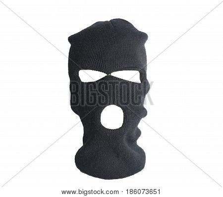 Black Thief Hat, Balaclava Isolated On White Background