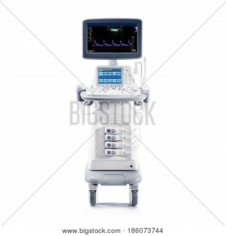 Ultrasound Machine Isolated On White Background. Medical Device. Ultrasonography Machine. Medical Di