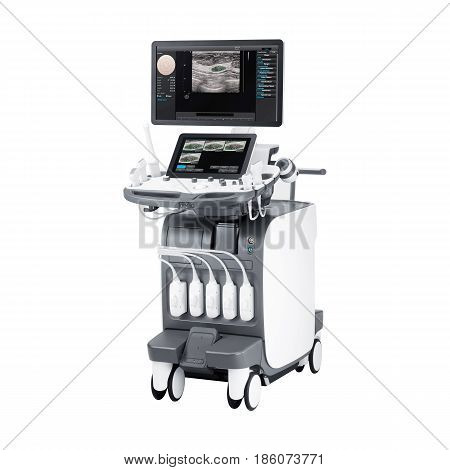 Ultrasound Machine Isolated On White Background. Ultrasonography Machine. Medical Device. Medical Di