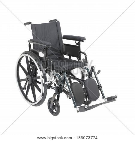 Wheelchair with Padded Arms Isolated on White Background. Transport Chair. Medical Equipment