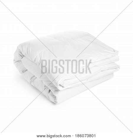 White Soft Blanket Isolated On White Background. Bed Linen. Cooking Pan