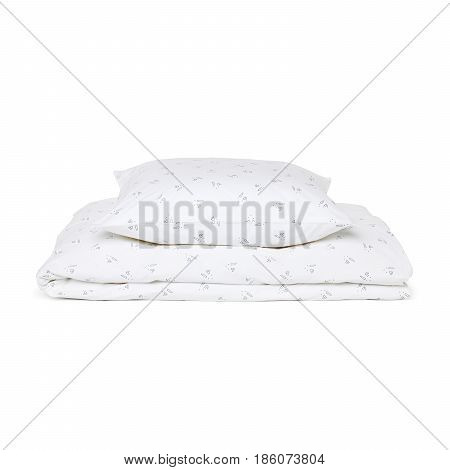 White Pillow And Soft Blanket Isolated On White Background. Bed Linen