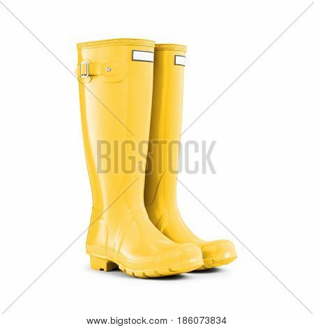 Yellow Rubber Boots Isolated On White Background. Rubber Shoes