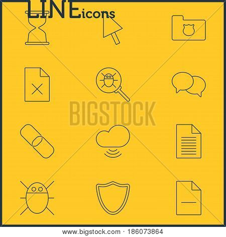 Vector Illustration Of 12 Internet Icons. Editable Pack Of Computer Virus, Talking, Sandglass Elements.