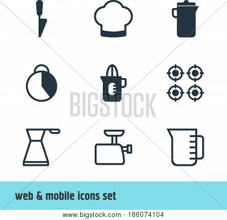 Vector Illustration Of 9 Kitchenware Icons. Editable Pack Of Kitchen Dagger, Furnace, Kettle And Other Elements.