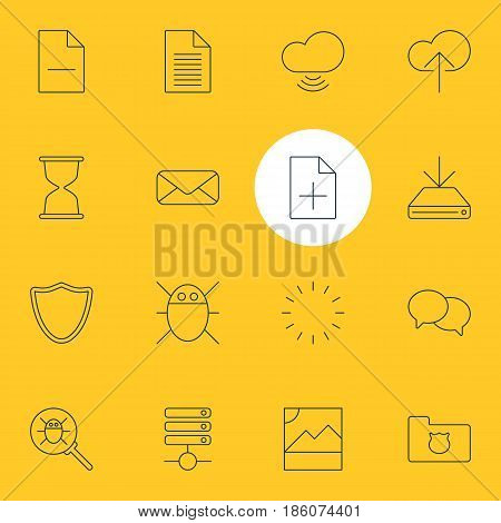 Vector Illustration Of 16 Network Icons. Editable Pack Of Privacy Doc, Server, Bug And Other Elements.