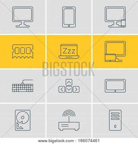 Vector Illustration Of 12 Laptop Icons. Editable Pack Of Router, Phone Near Computer, Qwerty Board And Other Elements.