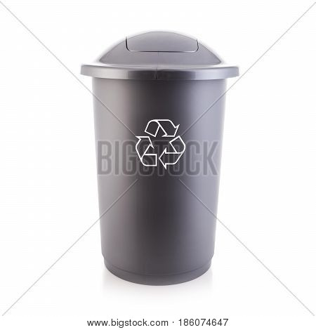 Recycle Bin Isolated On White Background. Trash Can. Plastic Waste Disposal Bin. Clipping Path