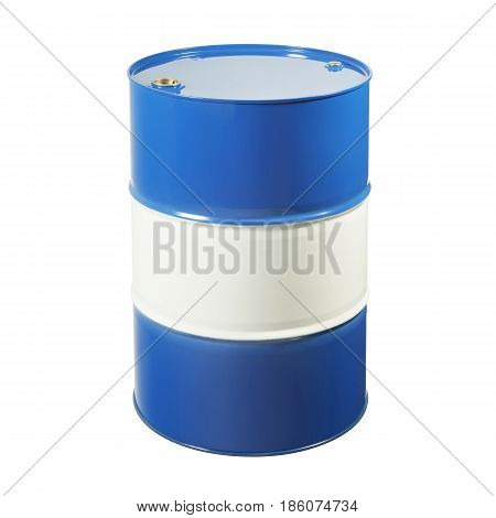 Blue Metal Oil Drum Isolated on White Background. Black Gold. Metal Oil Barrel