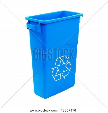 Blue Recycle Bin Isolated On White Background. Plastic Waste Disposal Bin. Trash Can