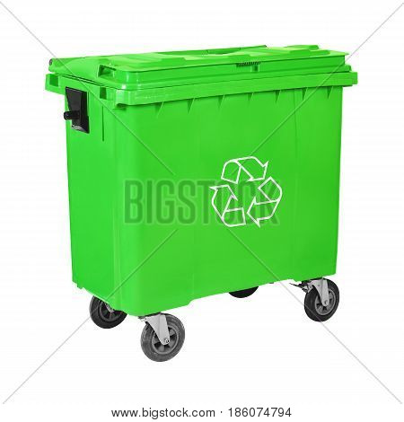 Green Recycle Bin Isolated on White Background. Plastic Waste Disposal Bin. Trash Can