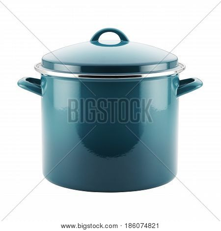 Marine Blue Enamel Coating Nonstick Stockpot With Lid Isolated on White Background. Cooking Pots. Enamel on Steel Cooking Pan